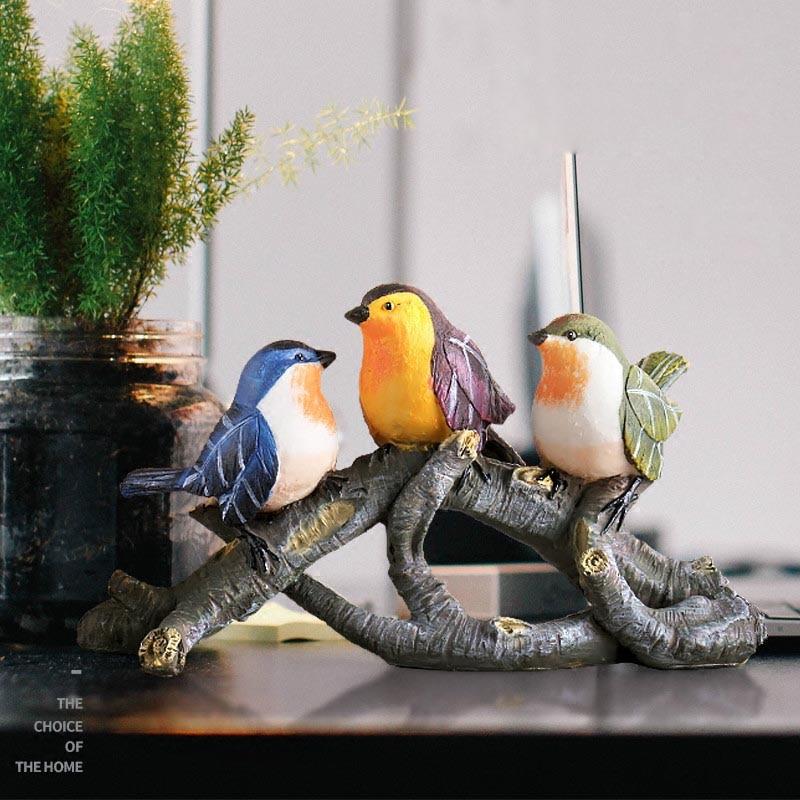 Креативная Смола милые птицы ветви деревьев украшения дома чайная церемония художественные фигурки офисные модные свадебные подарки ручн...