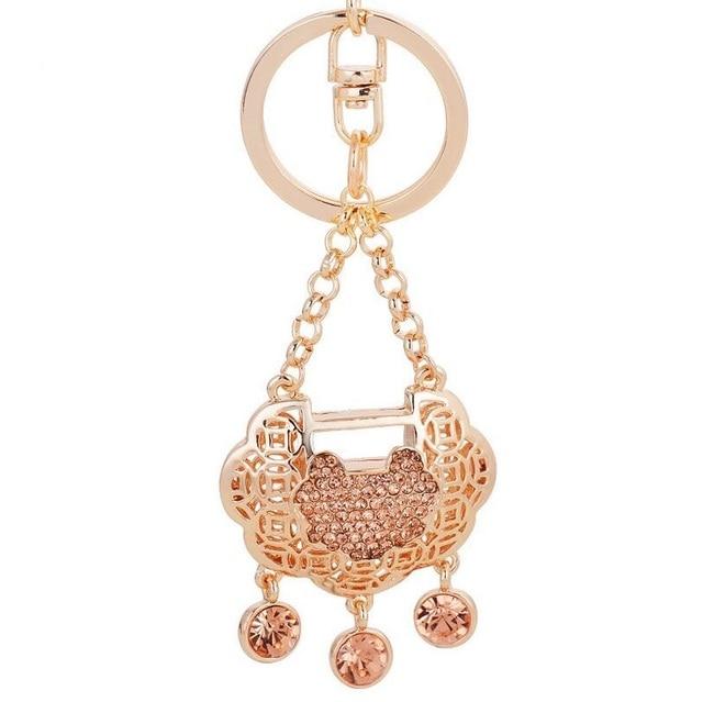 Chinese Longevity Lock Keychain Jewelry Exquisite Rhinestones Long