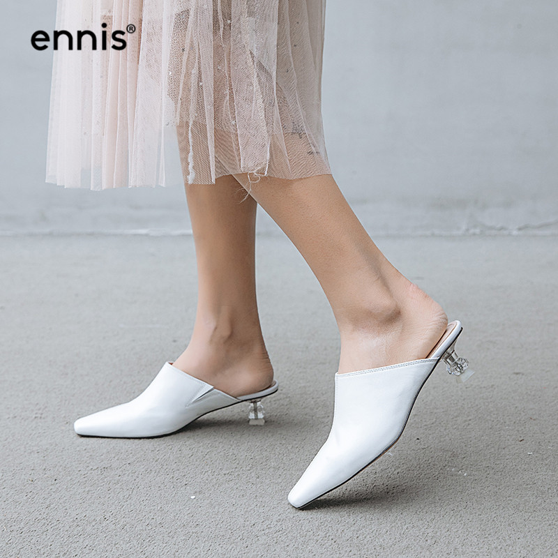 Cuir Blanc Pointu Dames Mode P903 Talons Med Bout Talon Chaussures Printemps 2019 Pompes Noir black Pantoufles Femmes En Véritable Femme White Mules xr77BTIqw0
