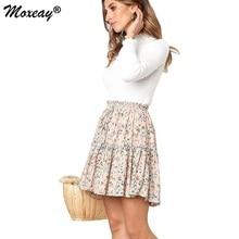 Moxeay Ruffles Mini Skirt Flared Pleated Skater Womens Boho Floral Dots Print Elastic High Waist Ruffle Short Skirts