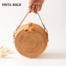Vintaroco 2019 New Beach Hand Woven Adjustable Strap Circle Boho Bali Ladies Round Rattan Shoulder Crossbody Straw Wicker Bag