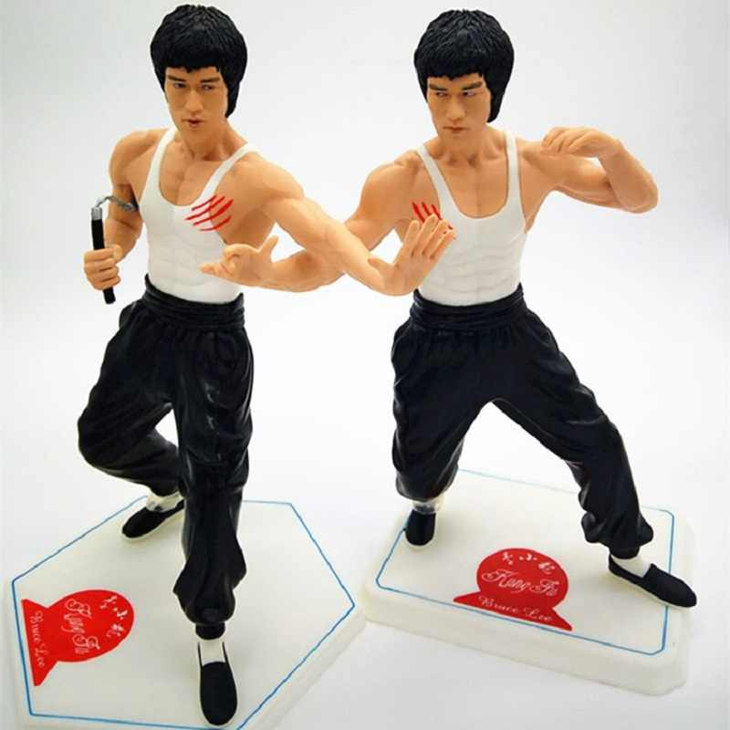 28cm Chinese Kongfu Super Star Bruce Lee Pvc Action Figure Toy Bruce Lee Display Model Joute Collection Kongfu Fans Gift Toys