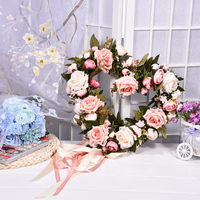 Rose Flower Headbands Silk Heart Shaped Flowers Wreath Wedding Artificial Spring Door Wreath Craft Decoration