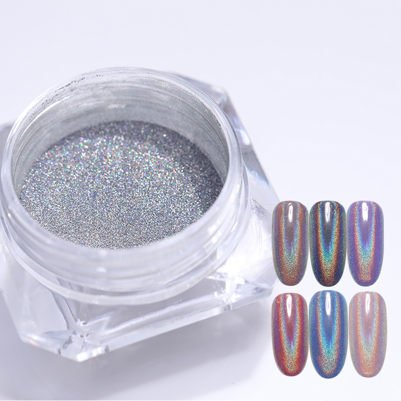 0 5g Box Holographic Laser Rainbow Powder Chrome Glitterr Rainbow Powder Nail Art Laser Chrome Powder Manicure Nail Art in Nail Glitter from Beauty Health
