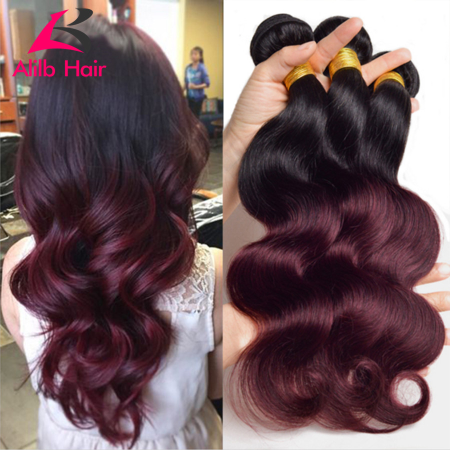7a Ombre Brazilian Hair Brazilian Body Wave 3pcs Colored