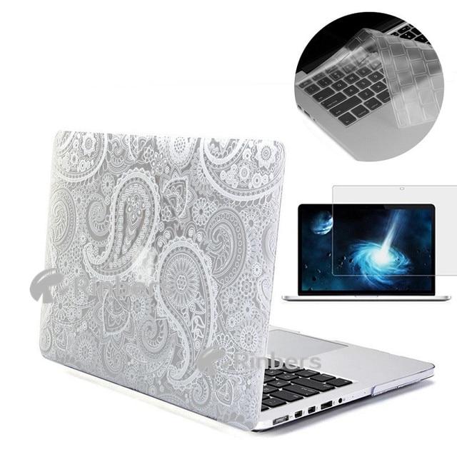 """Трудный Случай Печати для MacBook Pro 13 """"13.3"""" Дюймовый С CD-ROM A1278 Белый/Черный Пейсли Узор Жесткий Shell Обложка"""