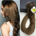 Full Shine Salon Quality Tape Clip in 100 Cabello Humano Real Extensions Remy Brazilian Human Hair Color 8 Ash Brown Clip Ins