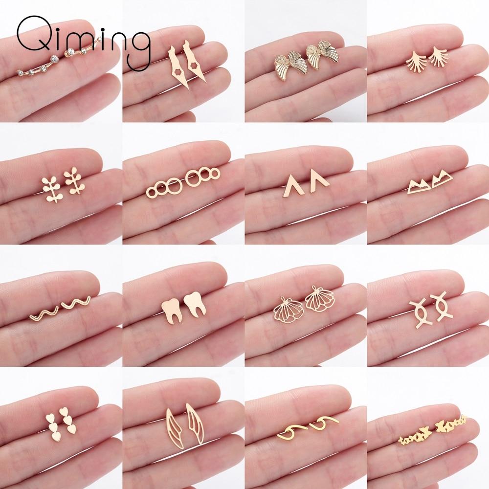 Gold Stainless Steel Earrings For Women Baby Kids Geometric Minimal Minimalist Jewelry Fashion Stud Earrings Party Birthday Gift