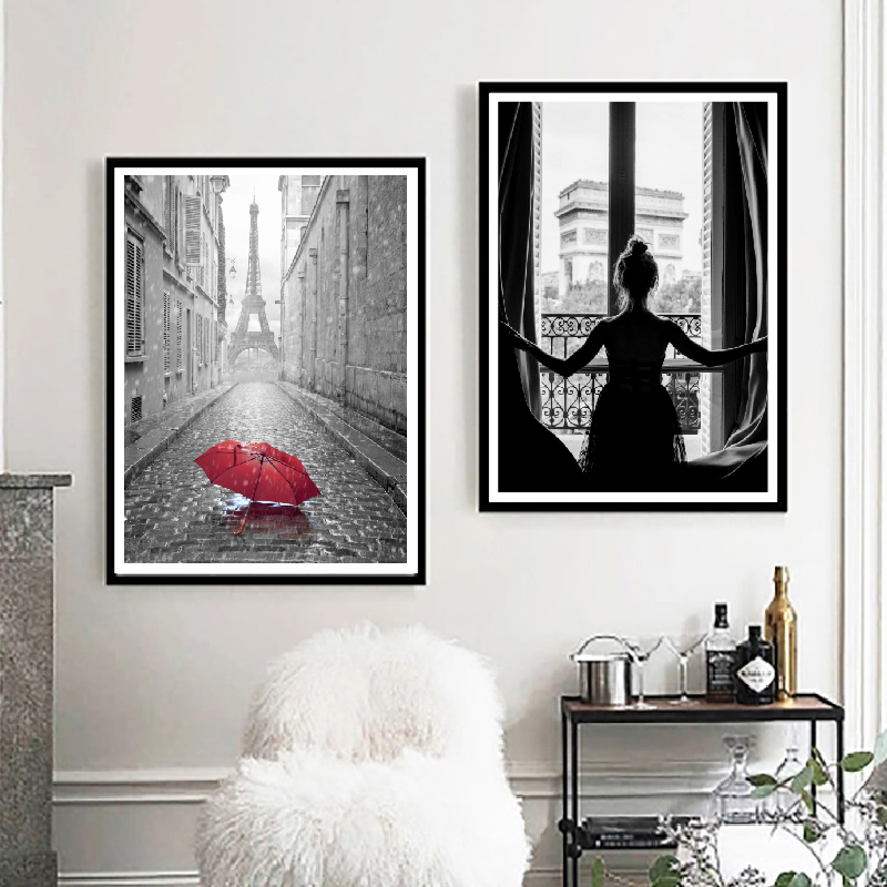 Girl In Window Poster Arc De Triomphe View Print Scandinavian Boho Home Decor Red Umbrella Paris Street Wall Art Canvas Painting