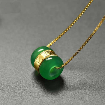 100% Natural Green  / Jadeite Round Circle Pendant gold inside  loose pendant with certificate 1.3g New