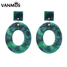 Vanmos European & American Exaggeration Geometric Acrylic Drop Earrings for Women Oval Pendant Jewelry