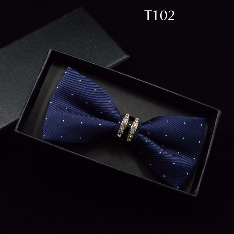 Tuxedo Metal Crystal Wedding Bow Tie Men Women Butterfly Knot Cravat Black Purple Blue Jujube Red Groom Party Banquet Meet Club 2