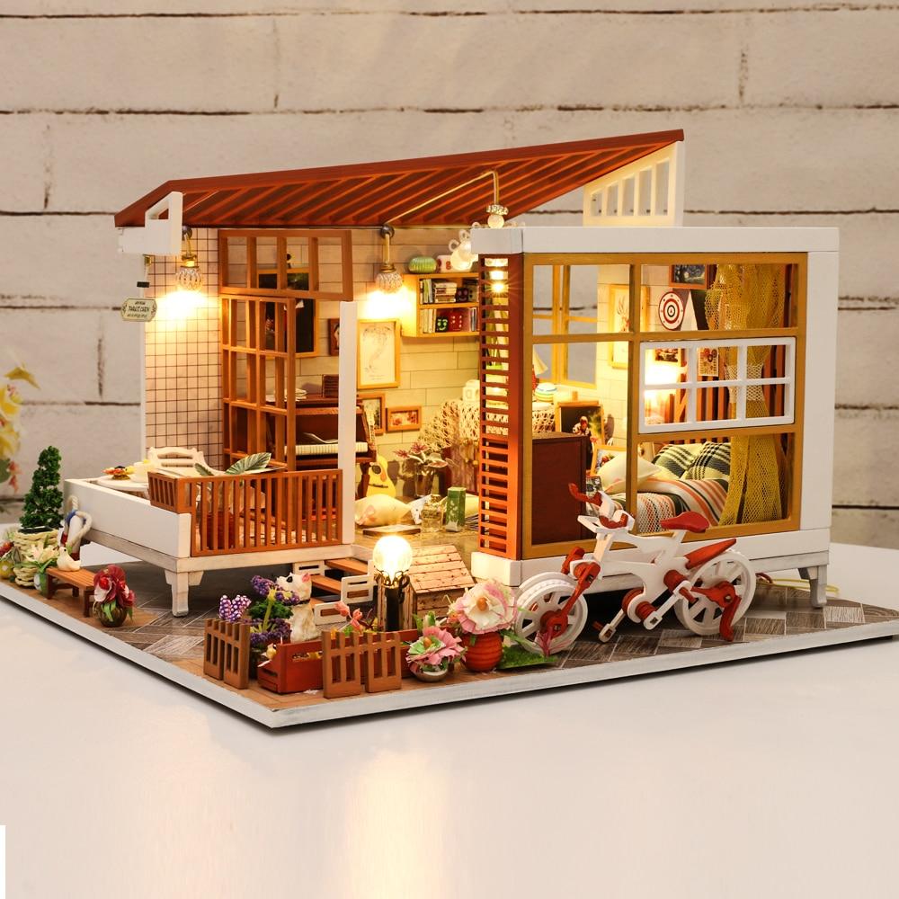 Cutebee Casa Doll House Furniture Miniature Dollhouse DIY Miniature House Room Box Theatre Toys For Children Casa Dollhouse A04B