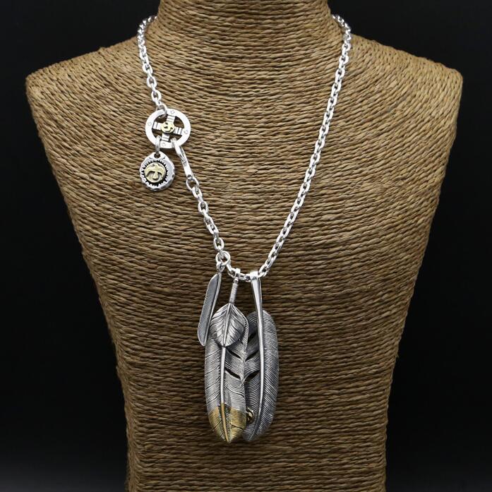 56.1g 100% réel 925 en argent Sterling collier hommes Vintage Style indien plume pendentif à breloque Designer bijoux hommes gratuit boîte-cadeau