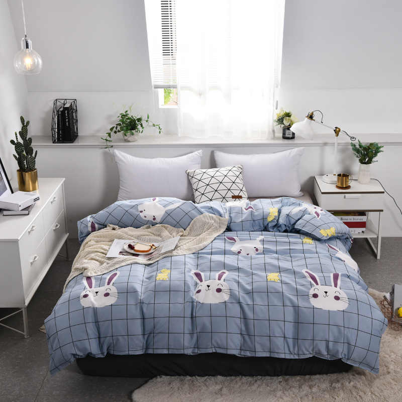 1pc Carton King Size Plaid Rabbit Duvet Cover with Zipper Children Cute Pattern Quilt Cover Twin Full Queen Bedclothes Bed Set