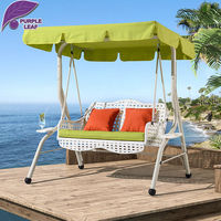 Outsunny Rattan Wicker Covered Patio Outdoor Porch Swing Bed With Frame Sand
