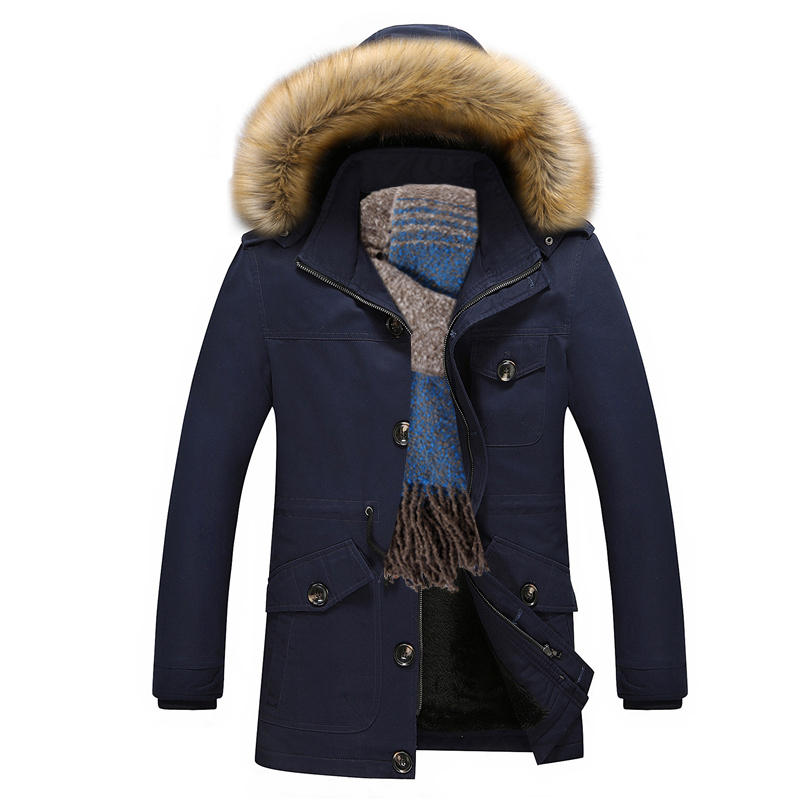 New Men Hooded Fashion Jackets and Coats Casual Thick Parka Warm Cotton-Padded Jackets Male Jaqueta Masculina Faux Fur Hat 5XL