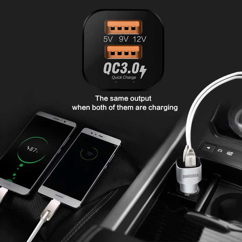 כפול רכב מהיר מטען תשלום מהיר 3.0 QC3.0 רכב-מטען מתאם מיקרו USB & סוג-C סוג C כבל עבור aukey Huawei P9 honor 8 9 V8