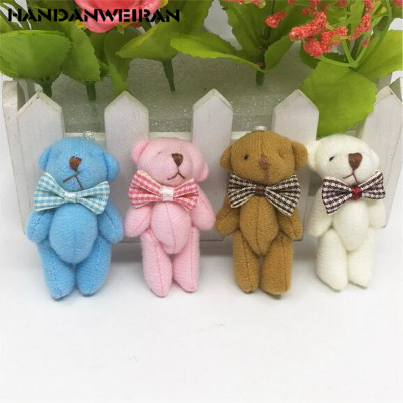 1PCS Mini Joint Bear Stuffed Plush Toys 6CM Cute 4 Colors Tie Bears Pendant Dolls Gifts Birthday Wedding Party Toy HANDANWEIRAN