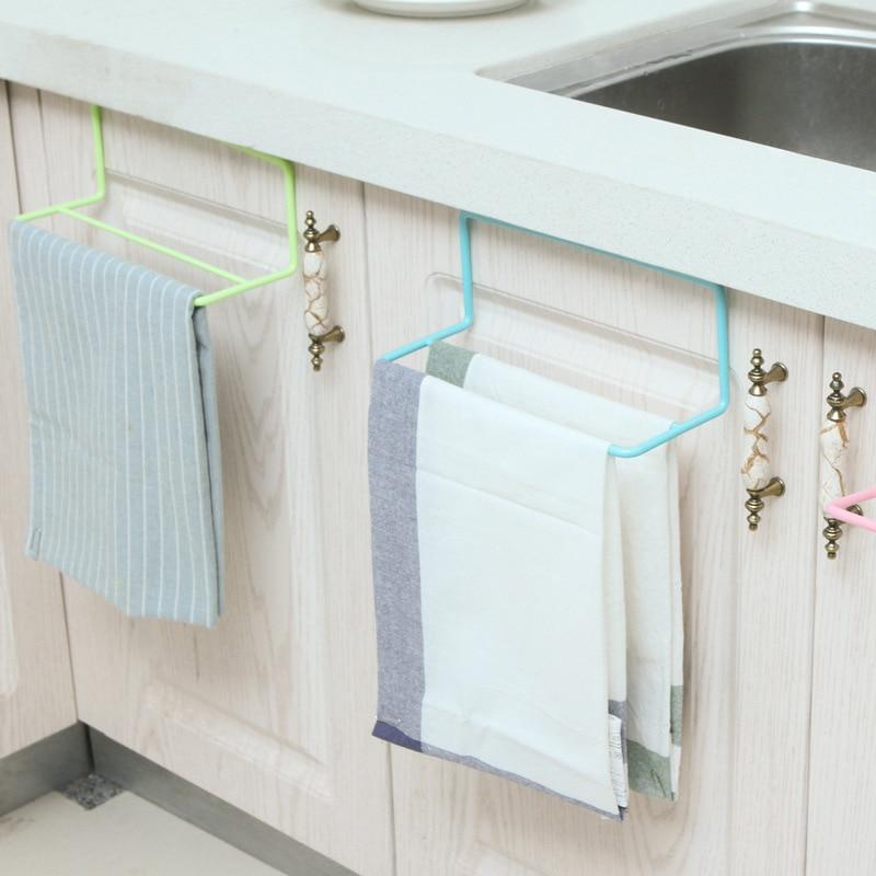 FEIGO Towel Bar Hanging Holder Wardrobe Kitchen Cabinets Bathroom Towel Rack Sponge Holder Wardrobe Storage Cabinet Racks F1070