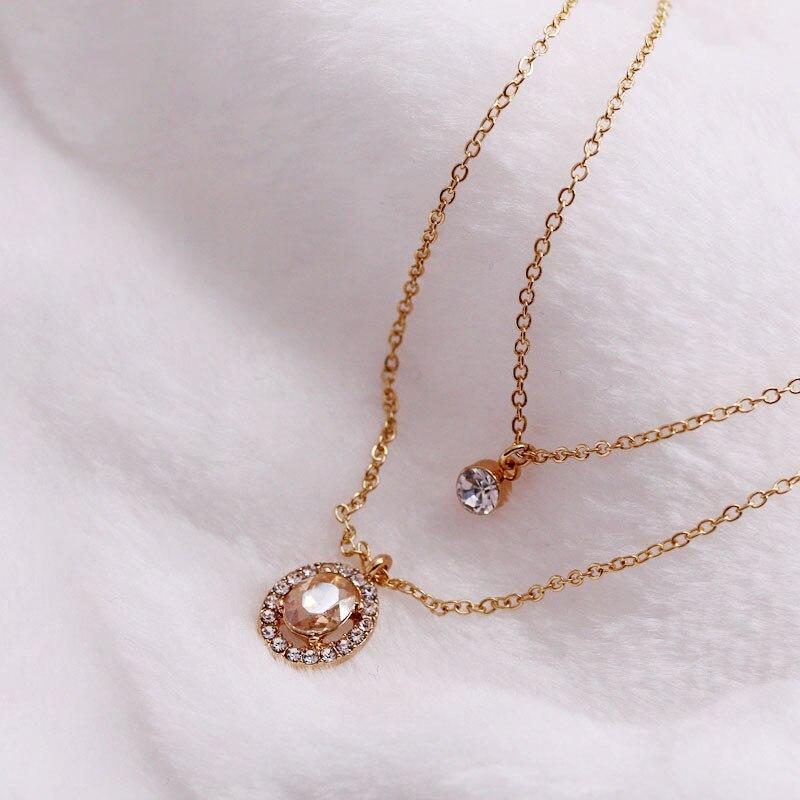 LUXSHINE Rhinestone Layered Necklace for Womenboho Boho Chain Colares Gothic Valentines Da
