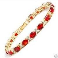Kadın Hediye kelime Aşk bayan ince kırmızı Ovale Rubis Cristal bilezik 7.5 inç İzle Kız Kadın ERKEK Kuvars takı mujer için