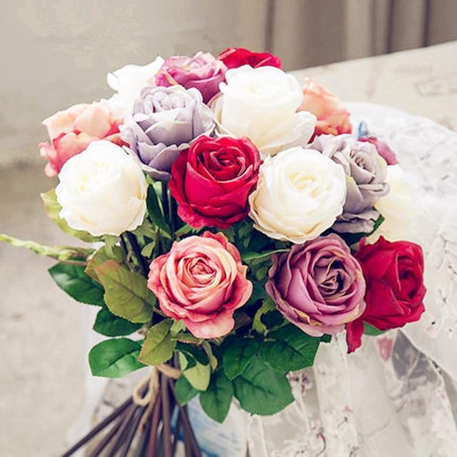 Silk Simulation Artificial flower Royal rose flower bouquet for ...