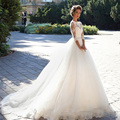 Vintage 2016 Tulle Long Sleeve Lace Wedding Dress Ball Gown Pearls Beaded Wedding Gown Bridal Dress Pearls Sash Casamento WD19