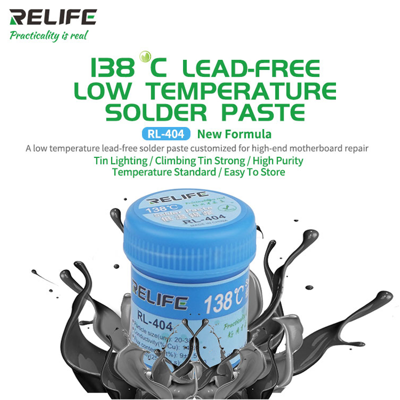 Lead-free Solder Paste 138°C  Low Temperature Customized For High-end Motherboard Repair RELIFE RL- 404