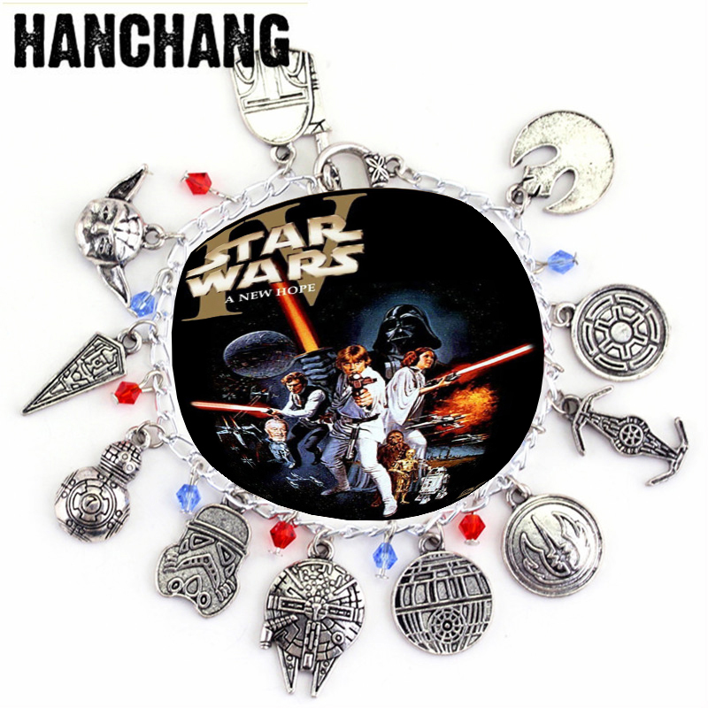 Movie Star Wars Serie Charm Bracciali Gioielli BB8 Robot Darth Vader Stormtrooper Ciondoli Bracciale Donna Cosplay Un braccialetto