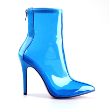 2019 Hot Sale New Women PVC Ankle Boots Super High Heels Women Shoes Sexy Transparent Boots Pointed Toe Crystal Handmade цена