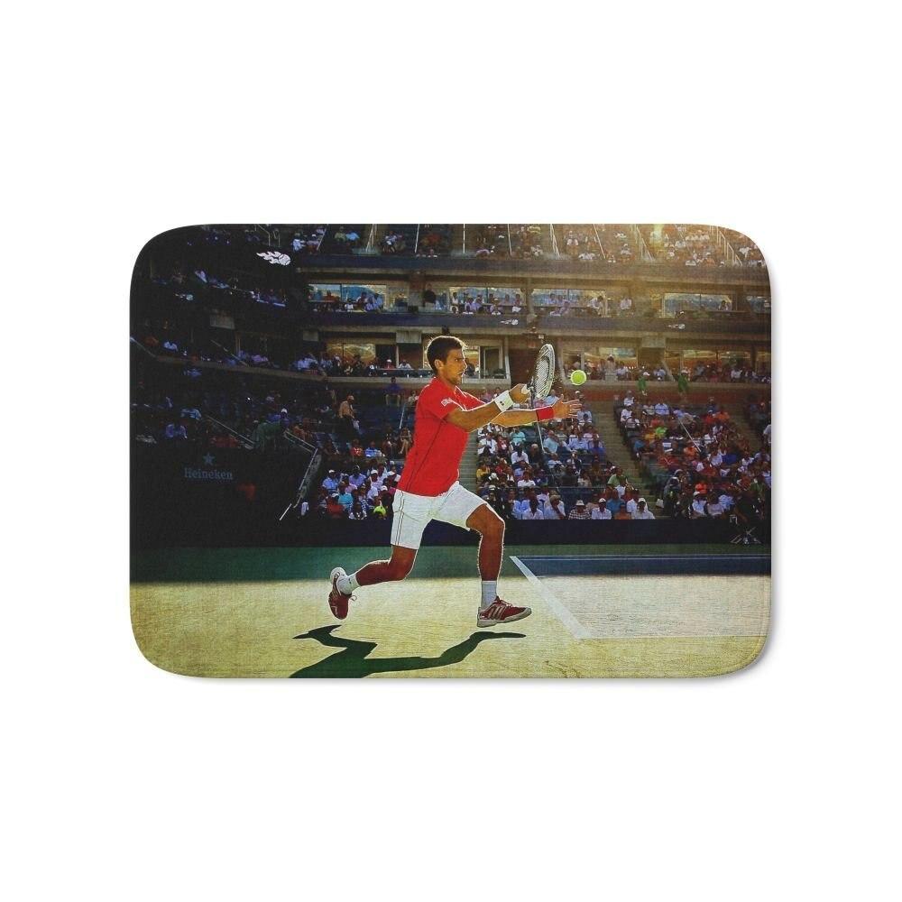 Novak Djokovic Tennis Bath Mat 17 x 24 Pattern Coral Fleece Rug Anti-Slip Doormat Home Decor