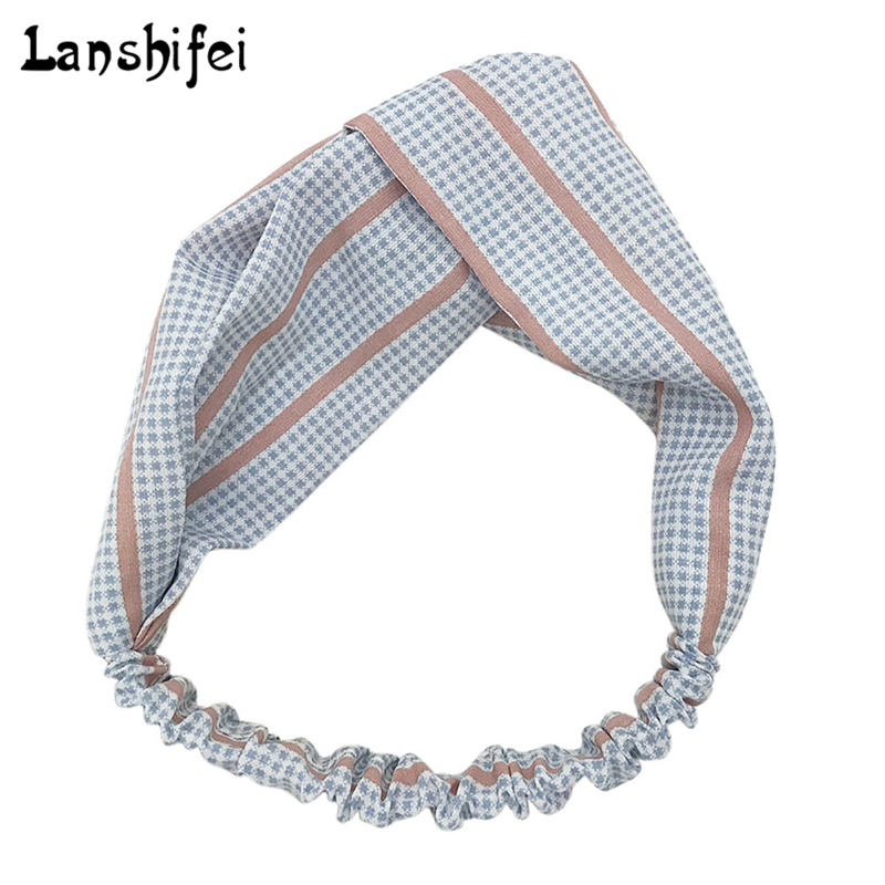 Houndstooth Pattern Wide Elastic Hair Hoop Hair Band Fashion Elegant Women Turban Twisted Knotted Girls Hair Accessories
