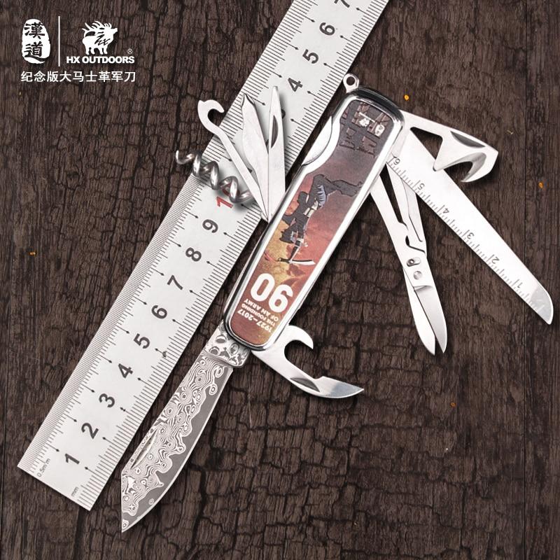 HX extérieur damas Multitool poche pince pliante Camping survie couteau multi-outils pince Conbination extérieur EDC outils à main