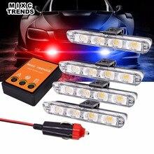 Czerwone niebieskie policyjne światła ostrzegawcze światło stroboskopowe bursztynowe białe awaryjne stroboskopy migające światła 4x4 led Flasher pogotowia światła samochodowe zestaw