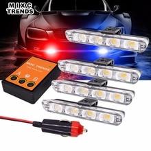 Red Blue Police Warning Strobe Light Amber White Emergency Stroboscopes Flashing lights 4x4 led Flasher Ambulance car light Kit