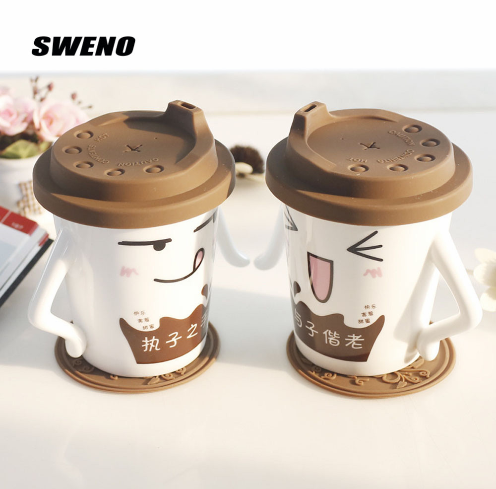 SWENO The New Paragraph 2pcs/set Super Cute Ceramic Couple Cup Wedding Gift Cup Creative Milk Office Coffee Mug Belt Lid
