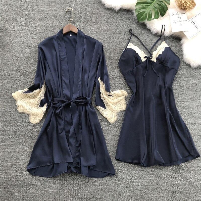 QWEEK Satin Sleepwear Robe With Chest Pads Sexy Silk Robe Sets Elegant Lace Bridesmaid Robes Sleep Lounge Women Bathrobe