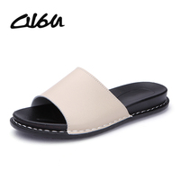 O16U Women Slippers Shoes Flats Genuine Leather Slip on Outside Slides  Ladies Fashion Flat Summer Beach 8dff1afce622