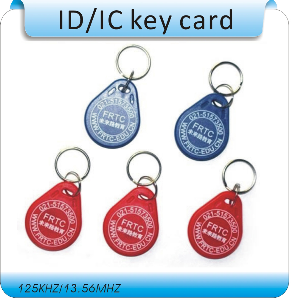 Free shipping 100pcs printing logo 3# 125KHZ TK4100 RFID keyfob tags/ Electronic tags/TK4100 card
