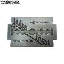WesBuck Brand Metal Buckles Judas Priest Music Cowboy Jeans High quality Belt Buckle Zinc Alloy Pewter Finish