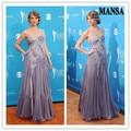 2014 chegada nova colher decote bordado apliques andar de comprimento Chiffon Kate Middleton partido celebridade vestido