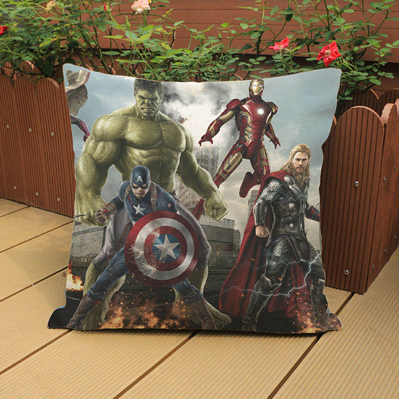 Super Hero Avengers Alliance Cushion Cover Iron Man Captain America Thor Hulk Black Widow Eagle Eye Sofa Decorative Pillow Cases image