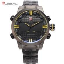 Sawback ange shark sport montre dual time zone numérique led Relogio Date Alarme Mens En Acier Bande Quartz Montre-Bracelet Militaire/SH198