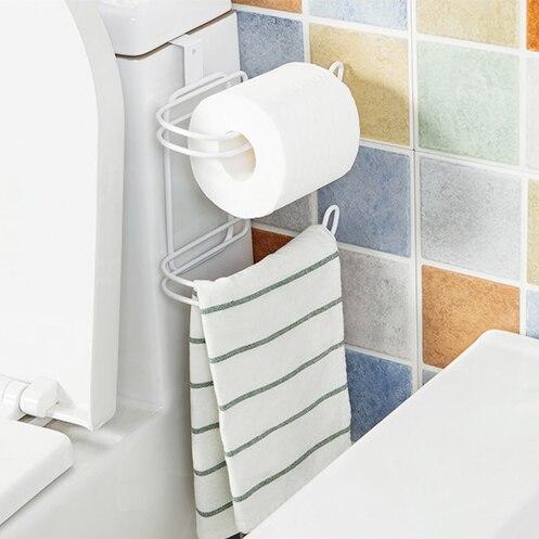 NOVINKA Koupelna WC Seat Roll Držák na papír Závěsný organizér 2 vrstvy Kov Tkáň ručníky Police Kuchyň Skladovací regál Dveřní háček