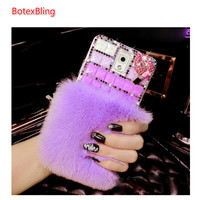 Diy Diamond Fluffy Plush Cover Case For Samsung Galaxy NOTE7 S7 Edge S6 Edge Plus S5