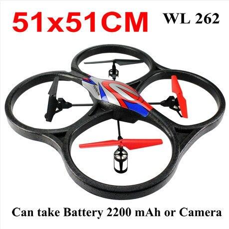 Gratis bezorging 51 cm wl helikopter v262 2.4g 6 ch 4-Axis rc vliegtuigen ufo quadcopter kan dragen camera of batterij 2200 mah