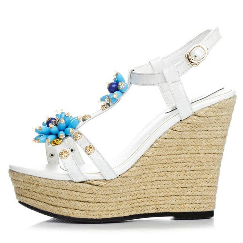 Noir Carzicuzin Taille Natioan Sandales Femmes Chaussures Haute Cuir Fleur Réel Coins Véritable En D'été Style blanc Plate Bagatelle 34 forme 39 F1FAqw