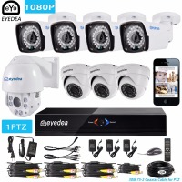 Eyedea 8 CH HDMI DVR NVR 1080P 5500TVL 36x Zoom PTZ Speed Dome Coaxial Control Night