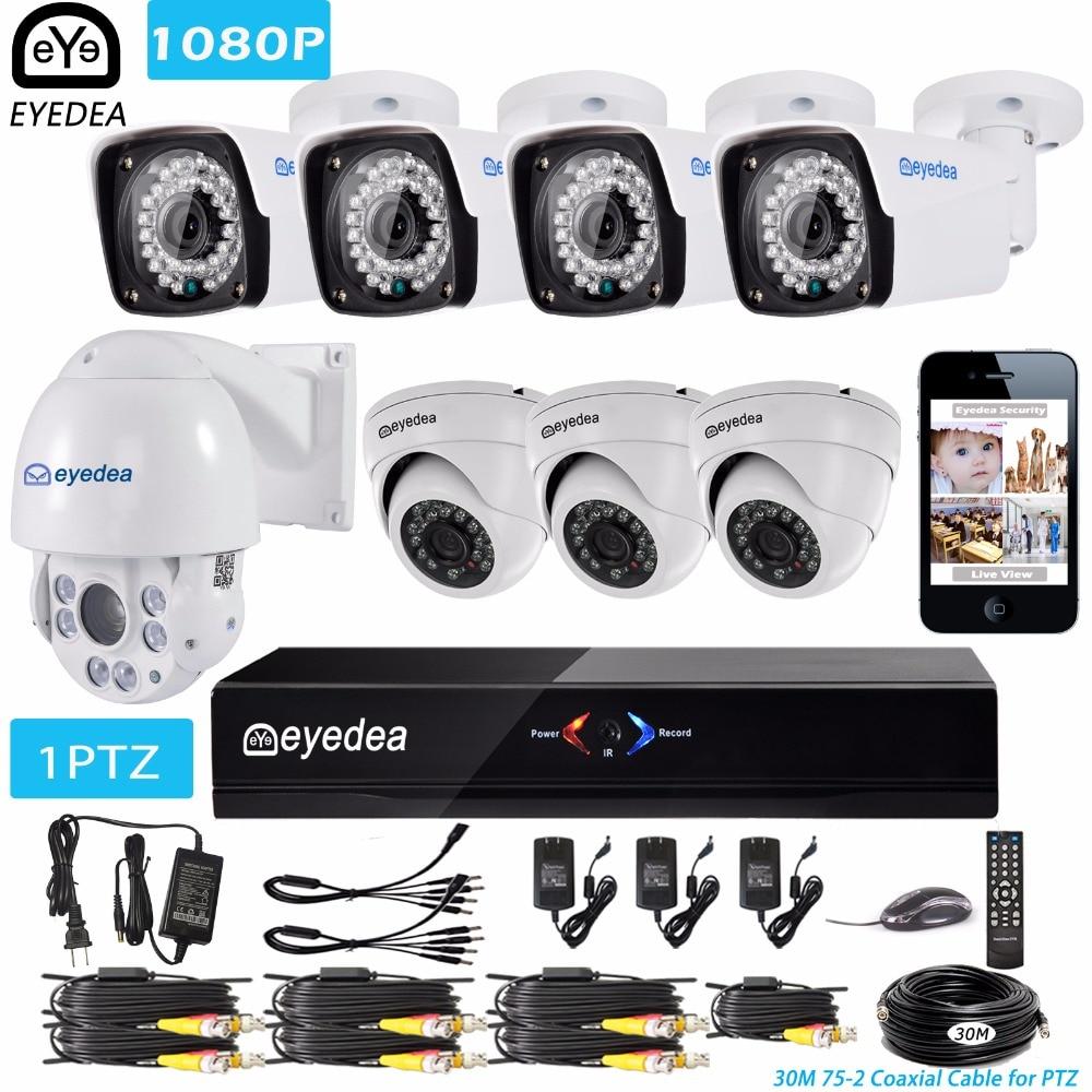 Eyedea 8 CH HDMI DVR NVR 1080P 5500TVL 36x Zoom PTZ Speed Dome Coaxial Control Night